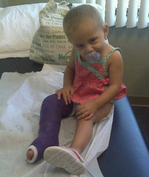 Avery with a broken leg