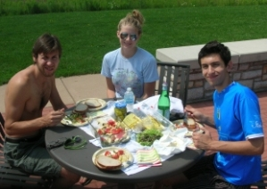 Mike, Karen and Sam - picnic lunch