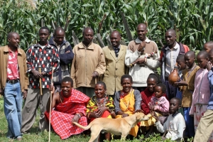 William (in red) and his Family in Kenya
