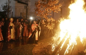 "Burning of the ""badnjak"" - the Serbian Yule Log"